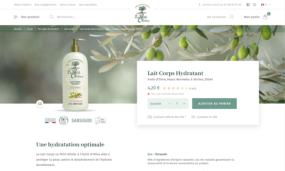 Product page Le Petit Olivier